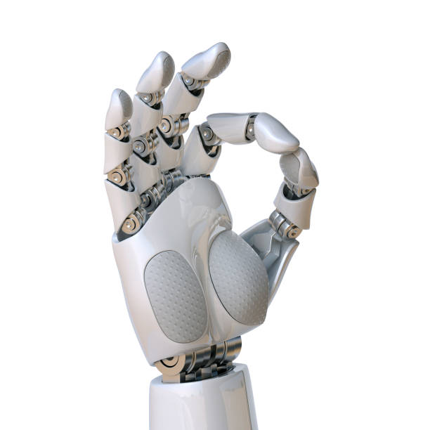 Robot hand OK sign 3d rendering Robot hand OK sign 3d rendering isolated illustration prosthetic hand stock pictures, royalty-free photos & images