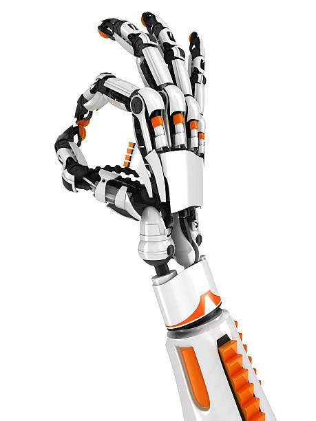 robot hand OK sign stock photo