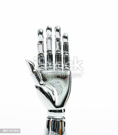 istock Robot hand on white background 962161840