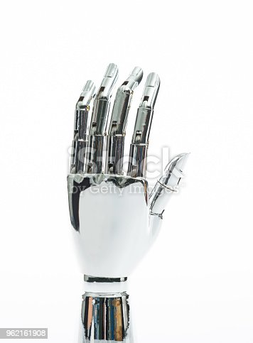 istock Robot hand on white background 962161908