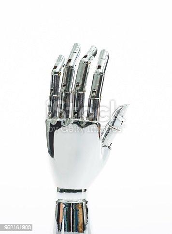 istock Robot hand on white background 962161908