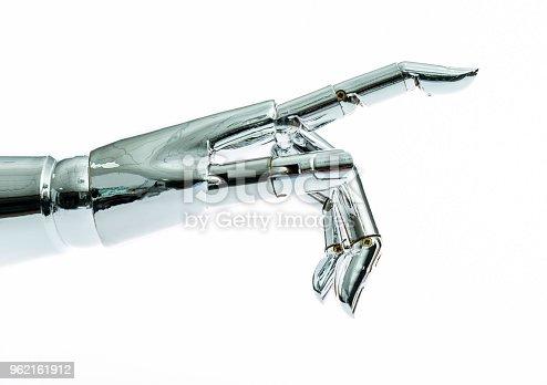 istock Robot hand on white background 962161912