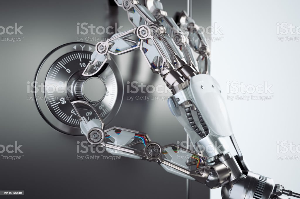 Robot hand opening a safe foto