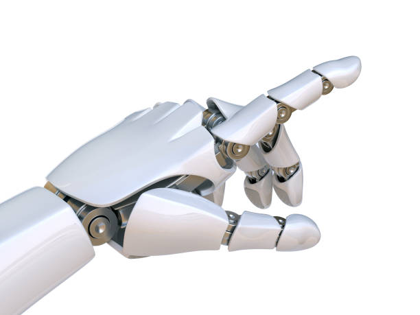 Robot hand pointing index finger, touching gesture Robot hand pointing index finger, touching gesture 3d rendering prosthetic hand stock pictures, royalty-free photos & images