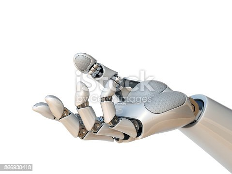 istock Robot hand reaching gesture or holding object 3d rendering 866930418