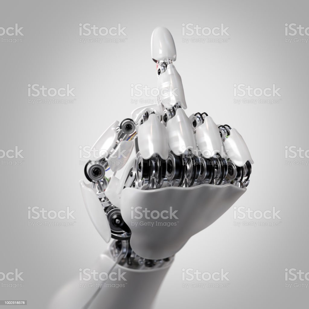 Robot Hand Shows Middle Finger Fuck You 3d Render Stock Photo More