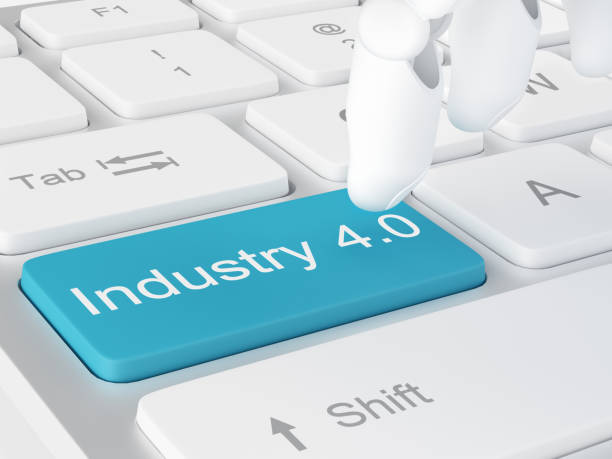 robot hand touching industry 4.0 key - computer aided manufacturing stock photos and pictures