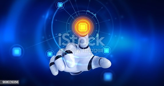 istock Robot hand touching on screen then computer cpu symbols appears 958026056