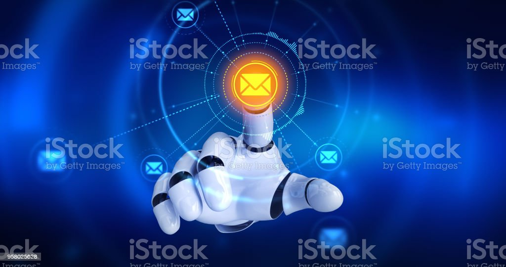 Roboterhand auf dem Bildschirm zu berühren, dann Email-Symbole erscheint Lizenzfreies stock-foto