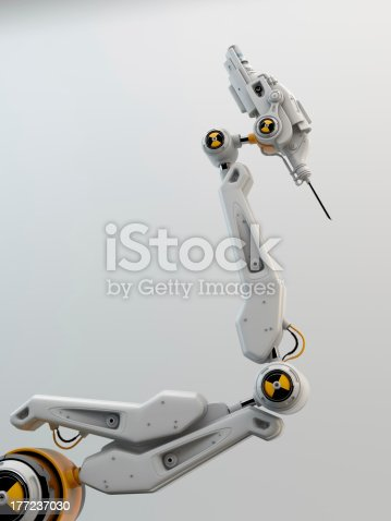 istock Robot hand with danger sign 177237030