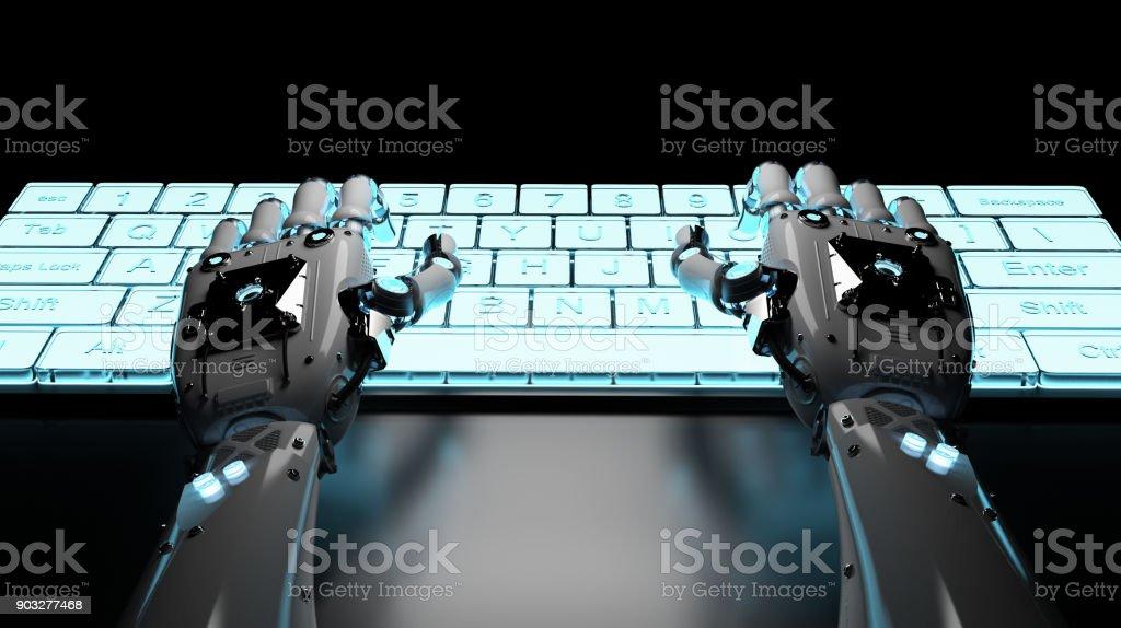 mano de robot con el teclado - foto de stock