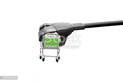 istock Robot hand with shopping cart. 1043447544