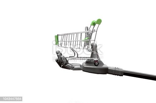 istock Robot hand with shopping cart. 1043447554