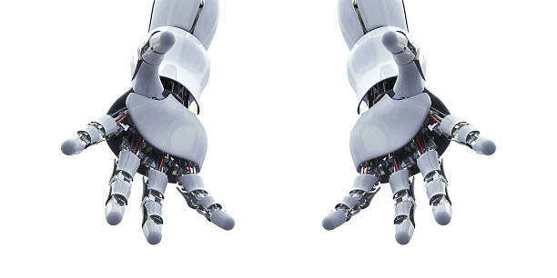 robot hand,Open hands,Holding, giving, showing concept. stock photo