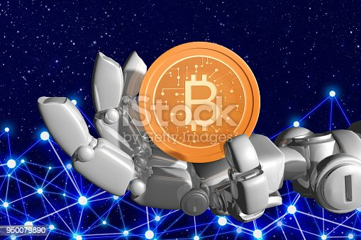 Robot hands and bitcoin with background network and space sky