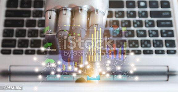 Robot hands and fingers point to laptop button advisor chatbot robotic technology artificial intelligence concept