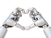 istock Robot hands form heart shape 3d rendering 866933576