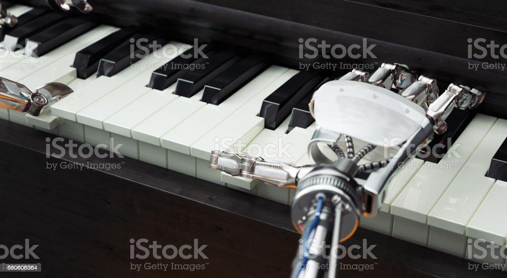 Robot handen spelen piano foto