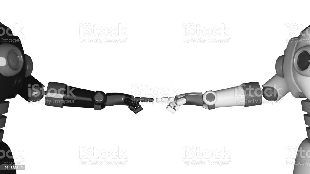 Robot hands pointing to each other isolated on black background in futuristic technology concept. 3d illustration royalty-free stock photo