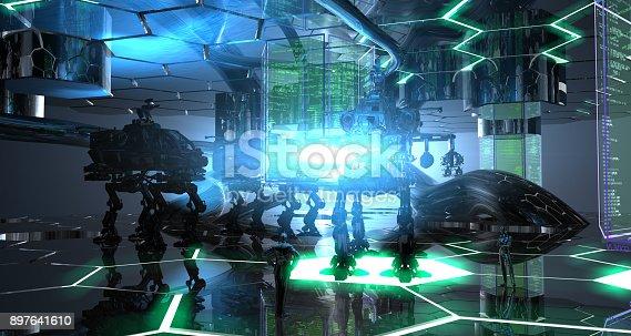 New generation anti-terror robots are walking in the spaceship's hangar.