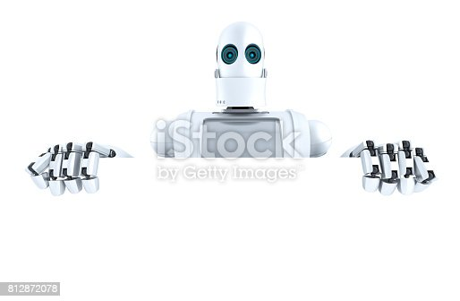 521048154 istock photo Robot holding a blank banner. Isolated. Contains clipping path 812872078
