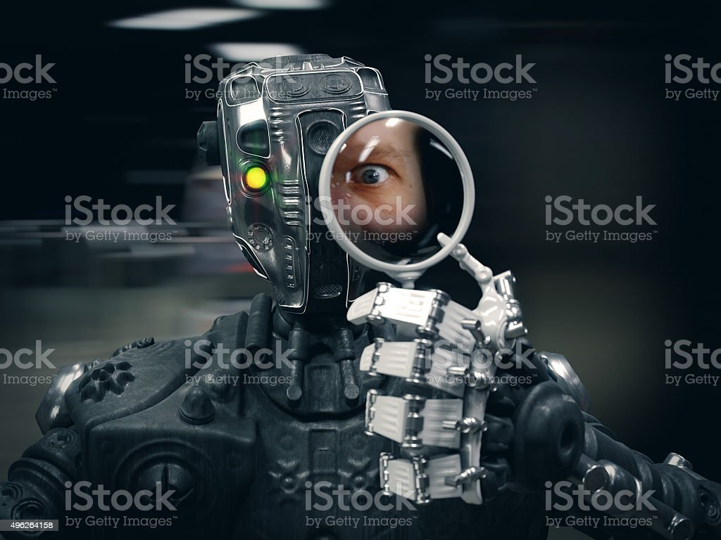 Robot  holding a Magnifying glass with human face conceptual composition stock photo