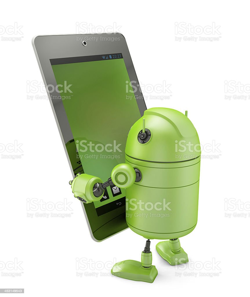 Robot holding a tablet stock photo