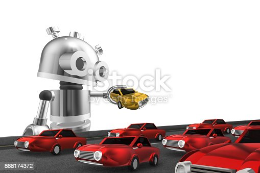 istock A robot holding a yellow car among red cars. 868174372