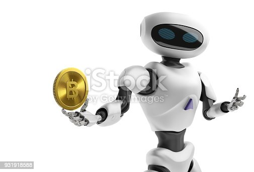 istock Robot holding Bitcoin. Isolate on white. Crypto Currency. 3D render. 931918588