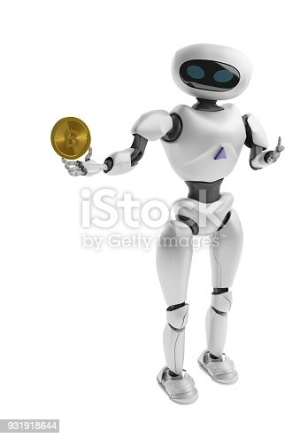 istock Robot holding Bitcoin. Isolate on white. Crypto Currency. 3D render. 931918644