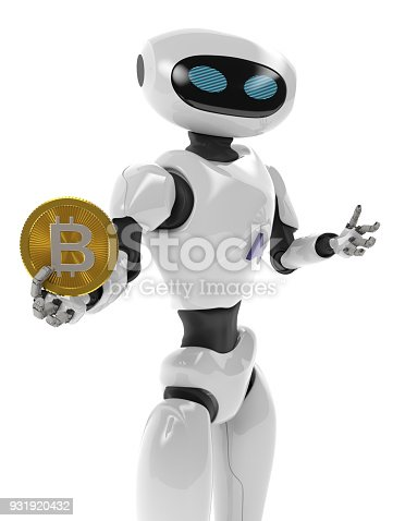istock Robot holding Bitcoin. Isolate on white. Crypto Currency. 3D render. 931920432