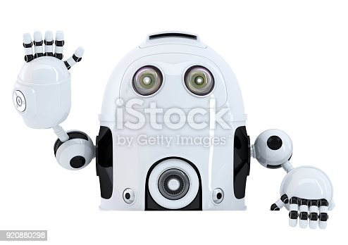 521048154 istock photo Robot holding blank banner and waving hello. Isolated. Contains clipping path 920880298