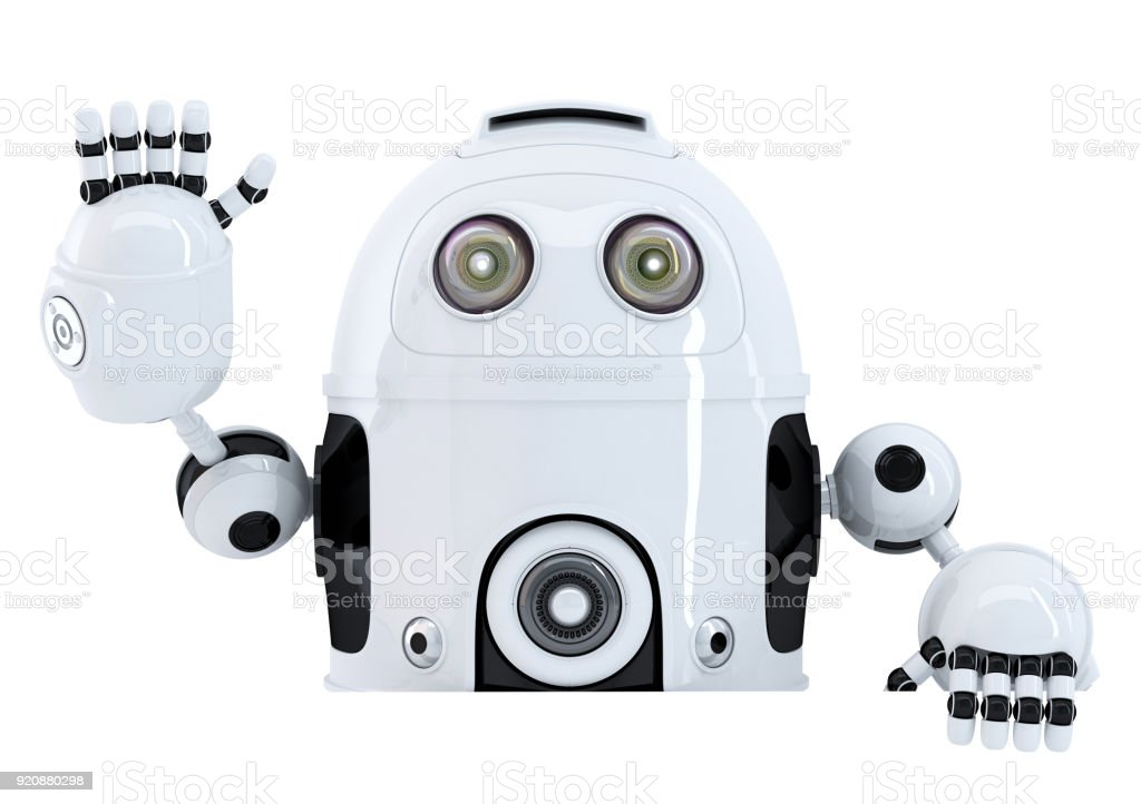Robot holding blank banner and waving hello. Isolated. Contains clipping path stock photo