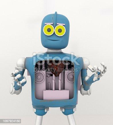 robot holding heart,metal heart ,robot heart,motor,3d render.