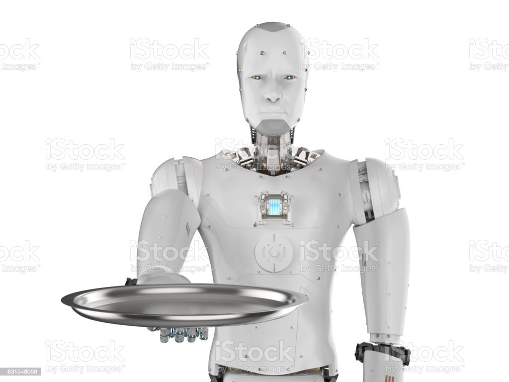robot holding serving tray stock photo