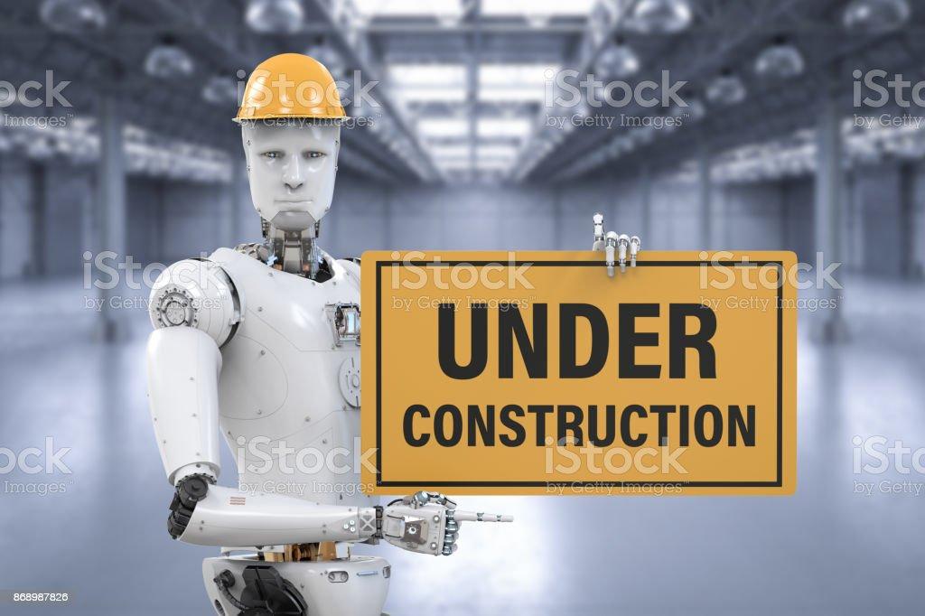 robot holding under construction sign 3d rendering robot holding under construction sign Artificial Intelligence Stock Photo