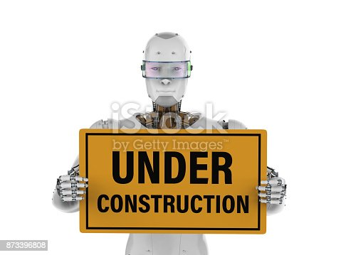 istock robot holding under construction sign 873396808