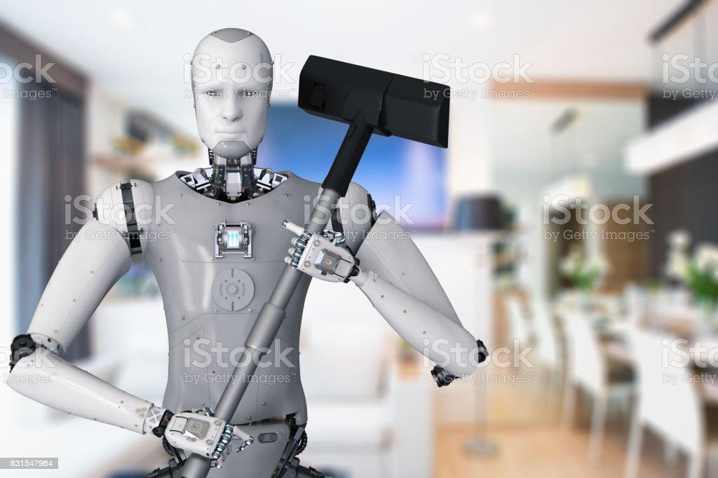 robot holding vacuum cleaner stock photo