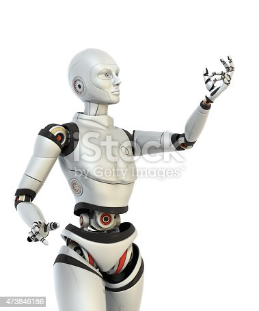 istock Robot holds something in his hand 473846186
