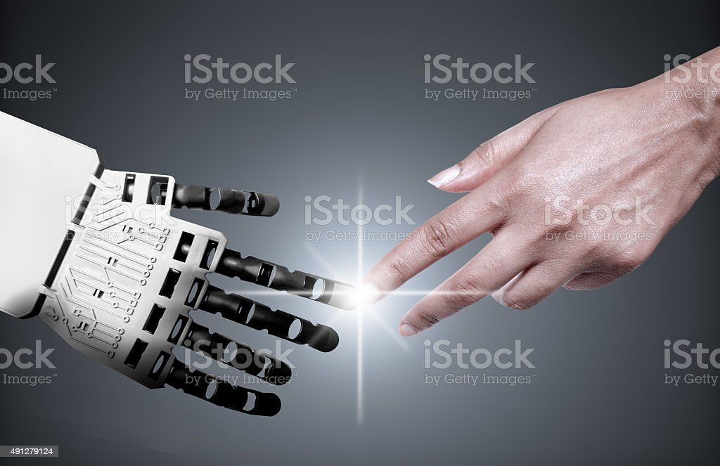 Robot human hand connection bildbanksfoto