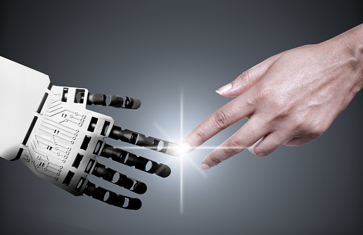 Robot Human Hand Connection Stock Photo - Download Image Now