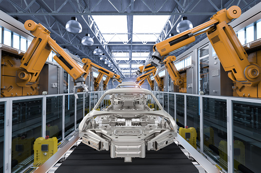 3d rendering robot assembly line in car factory