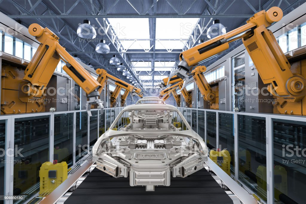 robot in car factory stock photo