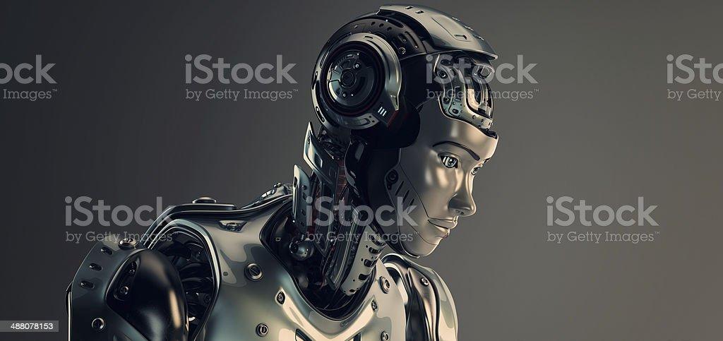Robot in helmet stock photo