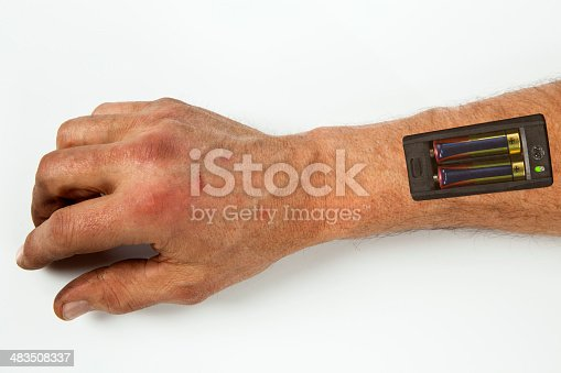 istock Robot - Insert the battery in an arm 483508337