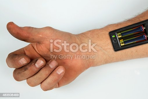 istock Robot - Insert the battery in an arm 483508469