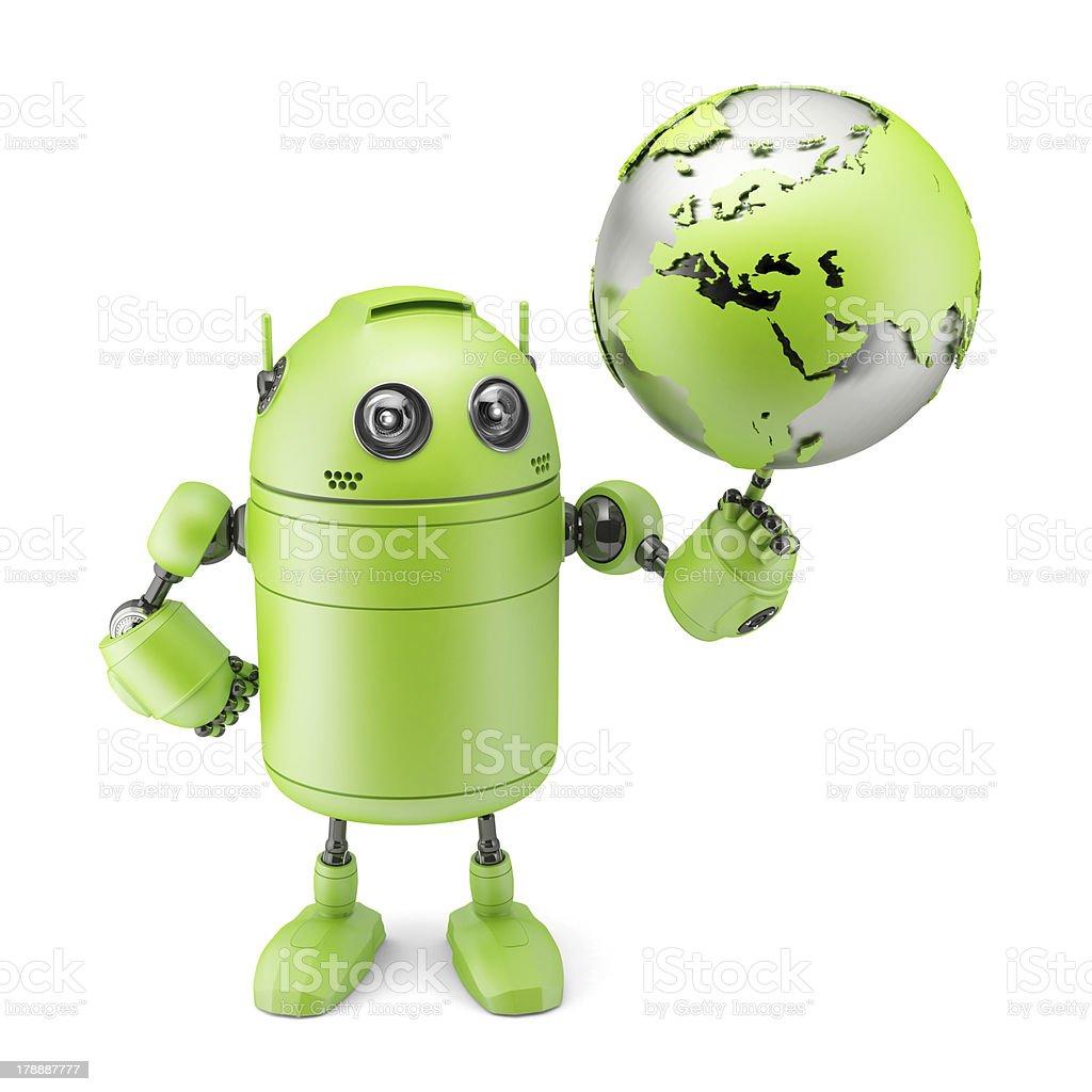 Robot inspecting a globe Robot inspecting a globe. Isolated on white Adult Stock Photo