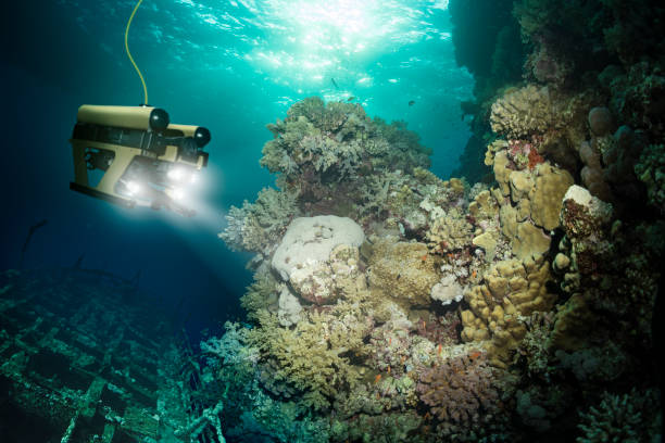 Robot inspects a sunken ship deep under water Robot inspects a sunken ship deep under water deep stock pictures, royalty-free photos & images