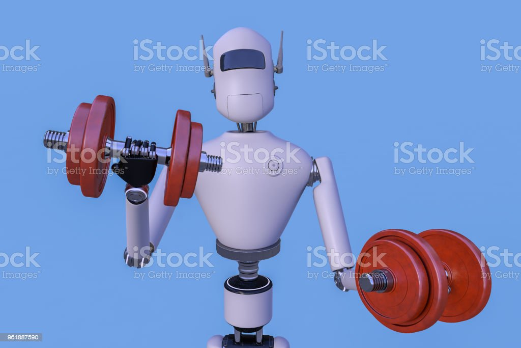Robot is exercising with dumbbells royalty-free stock photo
