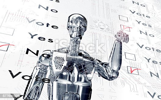 istock robot  is voting with a virtual click 577641538